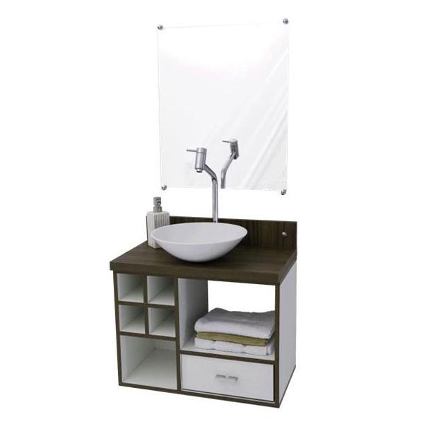 Gabinete Becrux Premium Sem Porta 1 Gaveta - Com Espelho Vtec Móveis