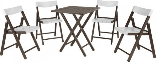 Conjunto de Mesa e 4 Cadeiras Dobravéis Tabaco Com Branco Potenza 10630/028 Tramontina