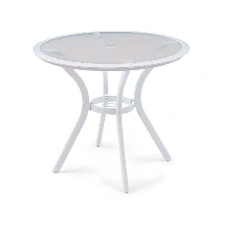 Mesa de Jardim Redonda Com Tampo de Vidro Branco Butzke