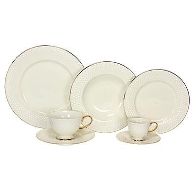 Aparelho de Jantar , Chá e Café Eclat Gold Branco e Dourado 42 Peças - Home Style