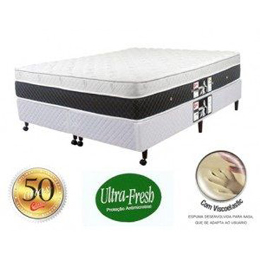 Cama Box Castor Black & White Plush 120x203x67cm