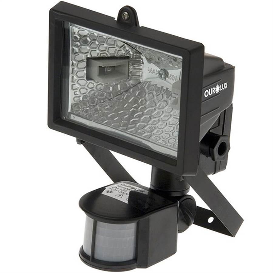 Holofote Refletor Ourolux C/ Sensor Preto 150w Bivolt - 01503