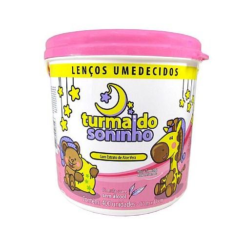 Lenço Umedecido Balde Rosa - 400 Unidades Turma do Soninho