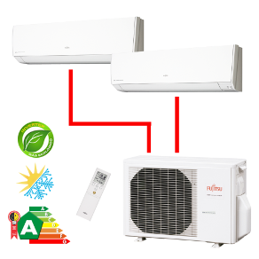 Ar Condicionado Multisplit Bi 14000 Btu(9000+12000) Quente/frio - Inverter - Fujitsu - 220v - Aobg14lac2