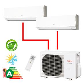 Ar Condicionado Multisplit Bi 14000 Btu(7000+9000) Quente/frio - Inverter - Fujitsu - 220v - Aoba14lac2