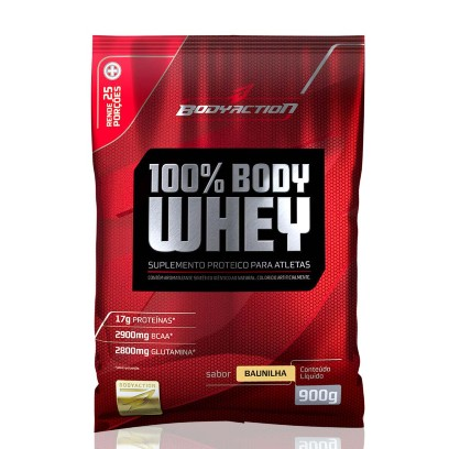 100% Body Whey 900g Morango Body Action