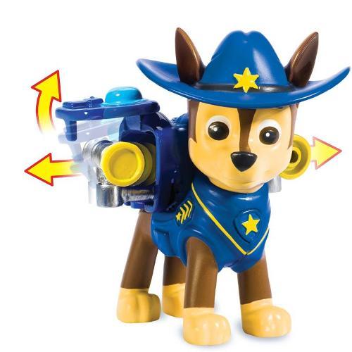 Boneco Patrulha Canina Chase Com Lançador Jumbo Cowboy Sunny Brinquedos