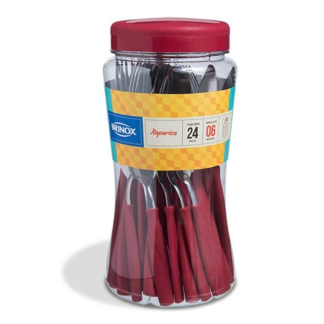 Faqueiro Itaparica Vermelho 24 Peças Brinox 6000752