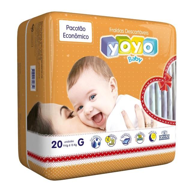 Fralda Descartável Tamanho G - 20 Unidades Yoyo Baby