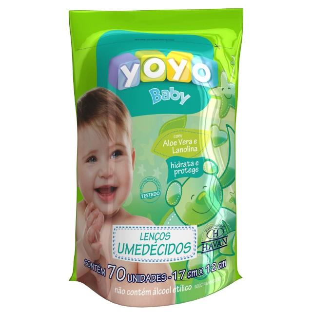 Lenço Umedecido Com Aloe Vera e Lanolina - 70 Unidades Yoyo Baby