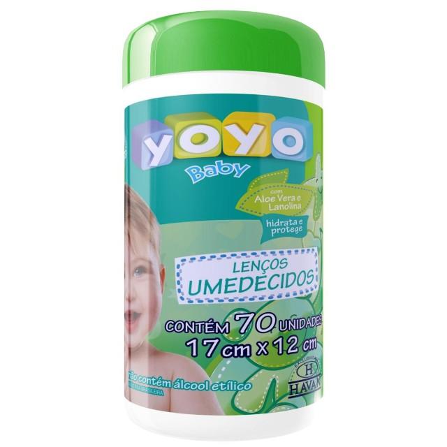 Lenço Umedecido Com Aloe Vera e Lanolina Pote - 70 Unidades Yoyo Baby