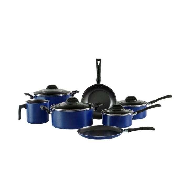 Conjunto de Panela Inox Garlic 7 Peças Azul Brinox 7002101