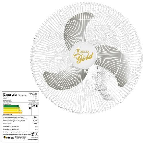 Ventilador de Parede 3 Pás Venti Delta Gold Branco 60cm - Bivolt