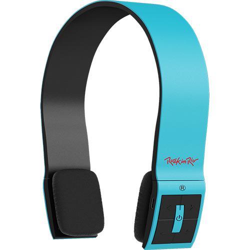 Fone de Ouvido Headphone Rock In Rio Bluetooth C/ Controle Azul Aquarius Mtc1210