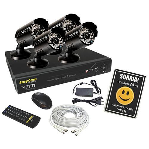 Dvr Vetti Easycam 8 Canais Kit Com Câmera