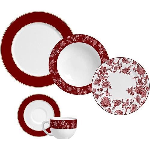 Aparelho de Jantar e Chá Flat Piemonte Red 20 Peças - Porto Brasil
