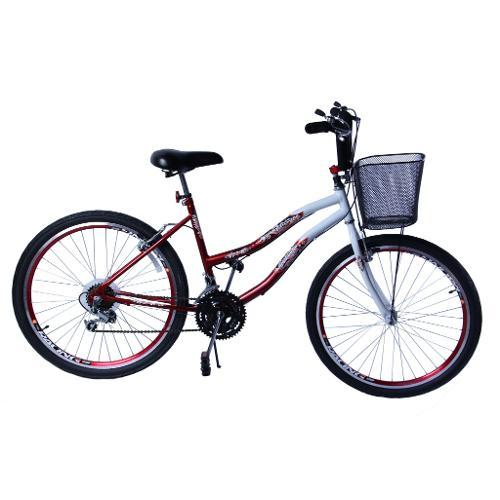 Bicicleta Dalannio Bike Beach Aro 26 Rígida 18 Marchas - Branco/vermelho