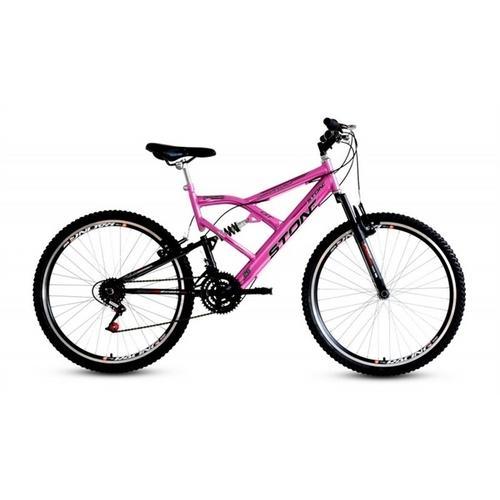 Bicicleta Stone Bike Kanguru Gt Aro 26 Full Suspensão 21 Marchas - Rosa