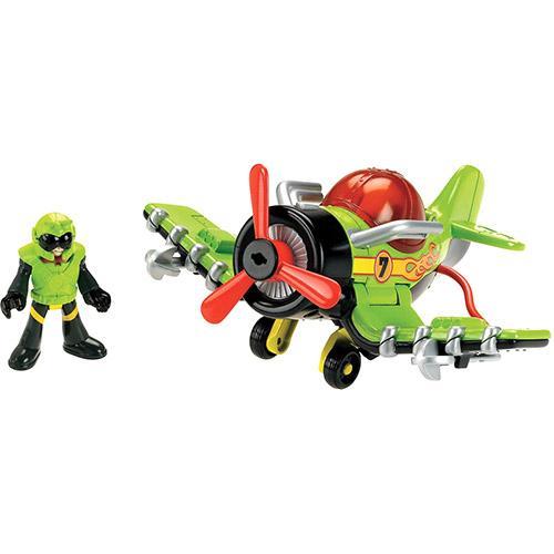 Boneco Imaginext Aviões Médios Sky Racer Tubarão Tigre Mattel