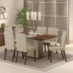 Conjunto de Mesa e Cadeira Elenice 6 Cadeiras Madesa