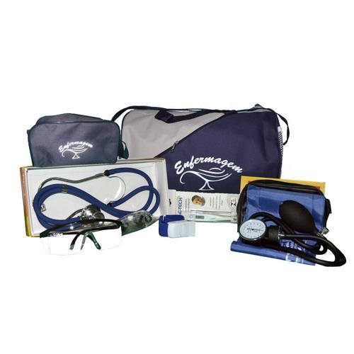 Kit de Enfermagem Com Bolsa Marinho - Aparelho Azul e Necessaire Marinho Premium