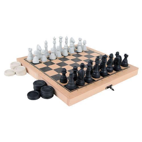 Jogo de Tabuleiro Xadrez e Damas Carlu Brinquedos