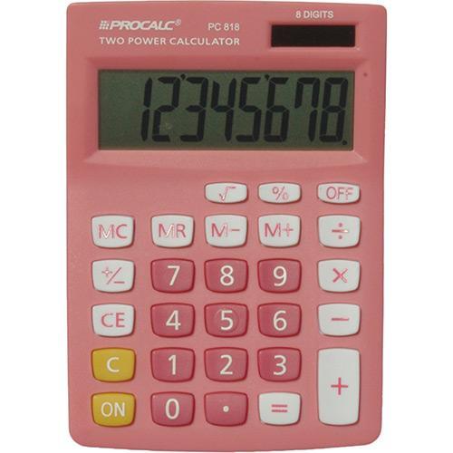 Calculadora de Mesa 8 Dígitos Inversão de Sinais Pink Pc818p Procalc
