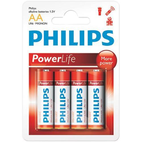 Pilhas Alcalinas Aa Powerlife Com 4 Pilhas Lr6p4b Philips