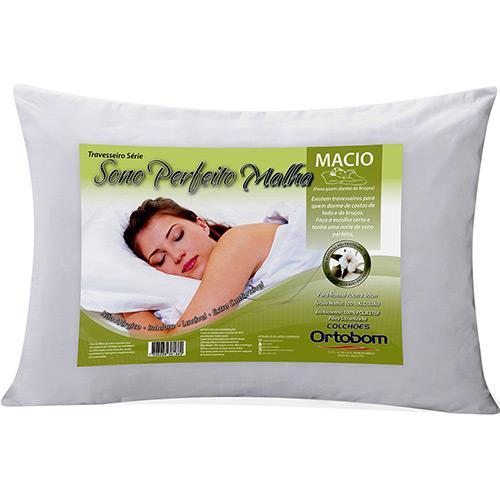 Travesseiro Ortobom Sono Perfeito Malha 100% Algodão 100% Poliéster 50x70cm