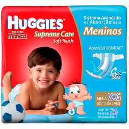 Fralda Descartáveis Supreme Care Soft Touch Meninos Tamanho Xxg - 26 Unidades Huggies