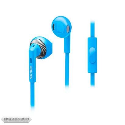 Fone de Ouvido Auricular Com Microfone Azul e Prata Philips She3205bl