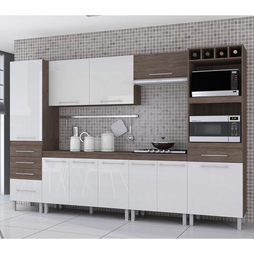 Cozinha Completa Indekes Ravena Kit Forno 11 Portas 4 Gavetas