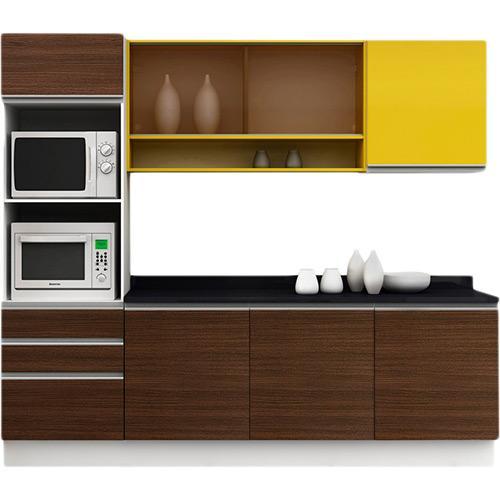 Cozinha Completa Madesa Glamy Gold 7 Portas 3 Gavetas