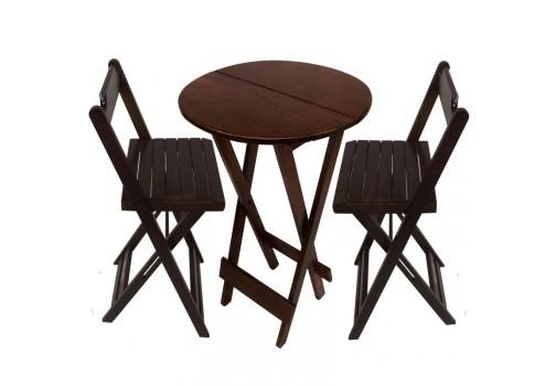Conjunto Bistrô de Mesa Com 2 Cadeiras Dobravéis Madeira Maciça Imbuia My Shop Brasil