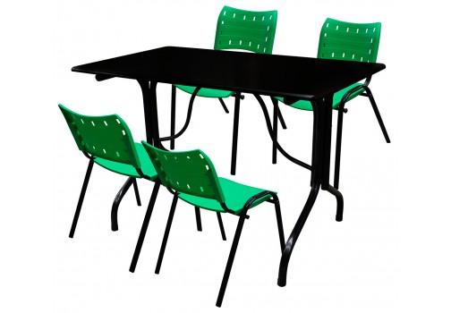 Conjunto de Mesa Fixa Retangular Com Tampo de Madeira e 4 Cadeiras de Plástico Verde My Shop Brasil