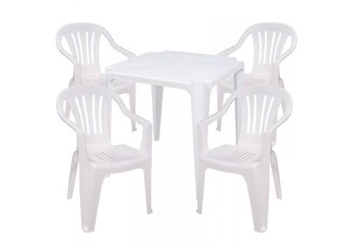 Conjunto de Mesa e 4 Cadeiras de Plástico Empilhavel Bela Vista Branco Mor