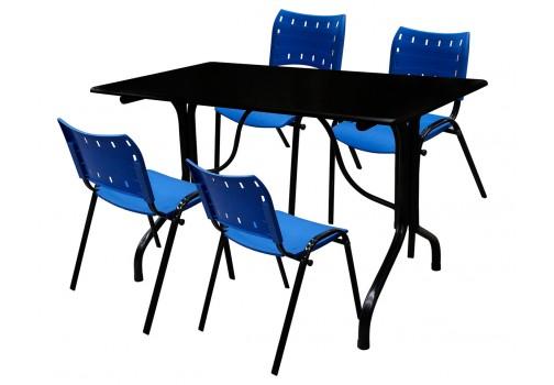 Conjunto de Mesa 120x70 Tampo Preto Plástico Azul My Shop Brasil