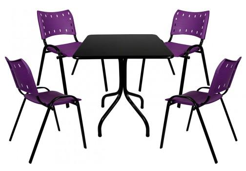 Conjunto de Mesa Fixa Com Tampo de Madeira e 4 Cadeiras de Plástico Roxo My Shop Brasil