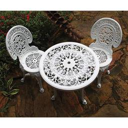 Conjunto de Mesa de Plástico Redonda 70cm e 2 Cadeiras Colonial Branco Antares Plasticos