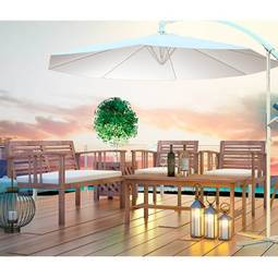 Conjunto de Mesa Com 3 Poltronas para Jardim Primavera Siena Móveis
