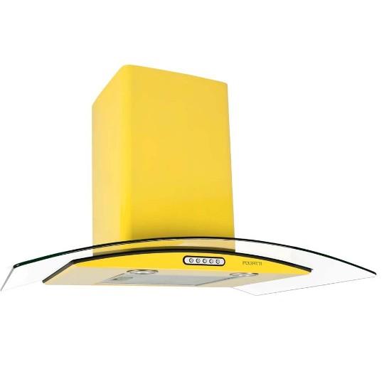 Coifa de Parede Fogatti 75 Cm Curvo Amarelo - 110v - Com Vidro - Cvc 75