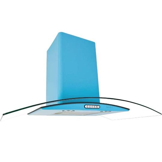 Coifa de Parede Fogatti 90 Cm Curvo Azul - 220v - Com Vidro - Cvc 90