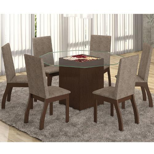 Conjunto de Mesa e Cadeira Tuly 6 Cadeiras Viero Móveis