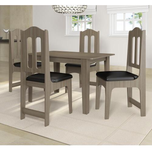 Conjunto de Mesa e Cadeira Perola 4 Cadeiras Sonetto