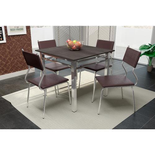 Conjunto de Mesa e Cadeira Cláudia 4 Cadeiras Somopar