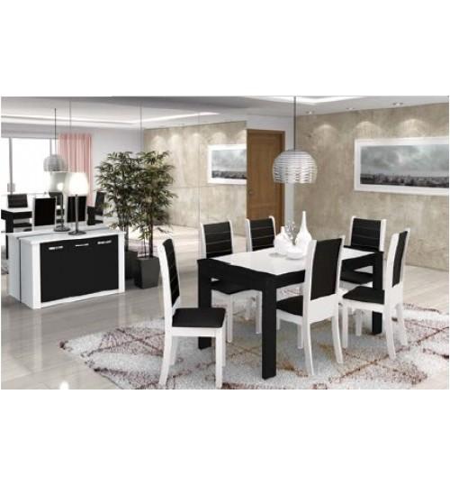 Conjunto de Mesa e Cadeira Brenda 6 Cadeiras Madesa