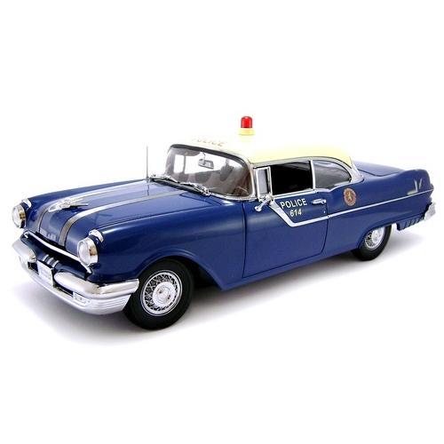 Carrinho Pontiac Star Chief 1955 Hard Top Police Car 1:18 Sunstar