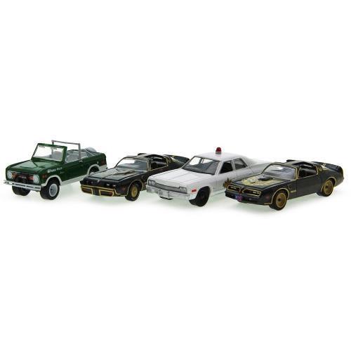 Carrinho Kit Set 4 Carros 2 Pontiac Firebird + Dodge Monaco + Bronco Smokey And The Bandit 1:64 Greenlight