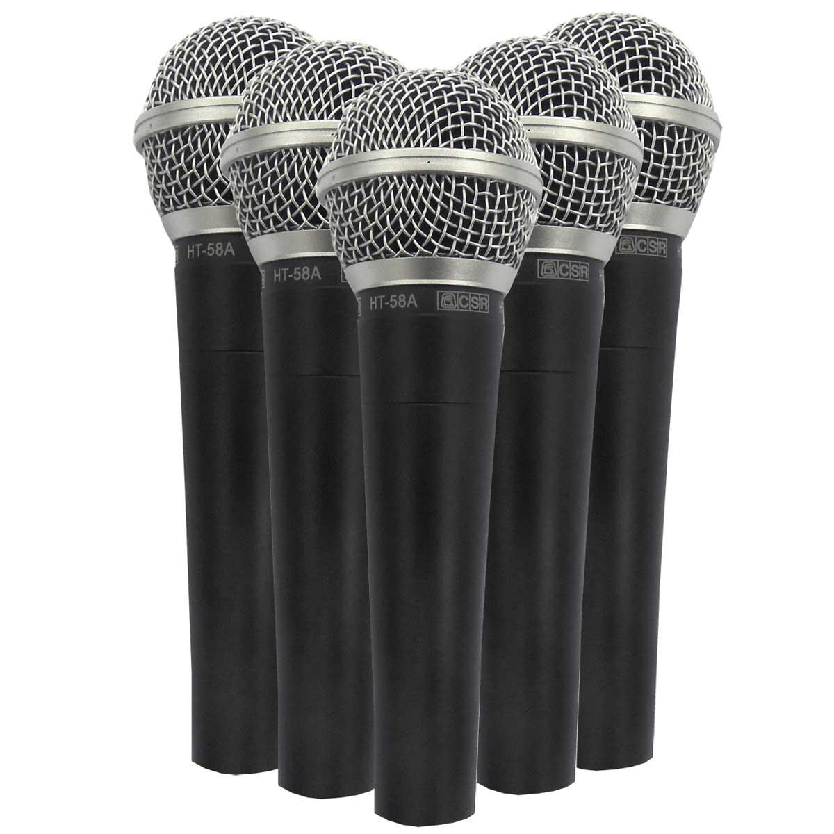 Kit 5 Microfones C/ Fio de Mão Csr58-5 Csr
