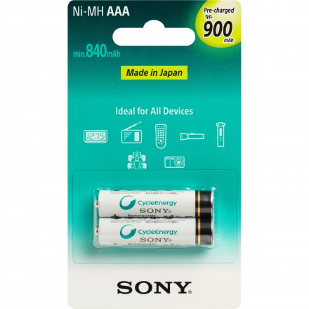 Pilhas Recarregáveis Cycle Energy Aaa 900mah 2 Unid 3x Nhaaab2gn Sony